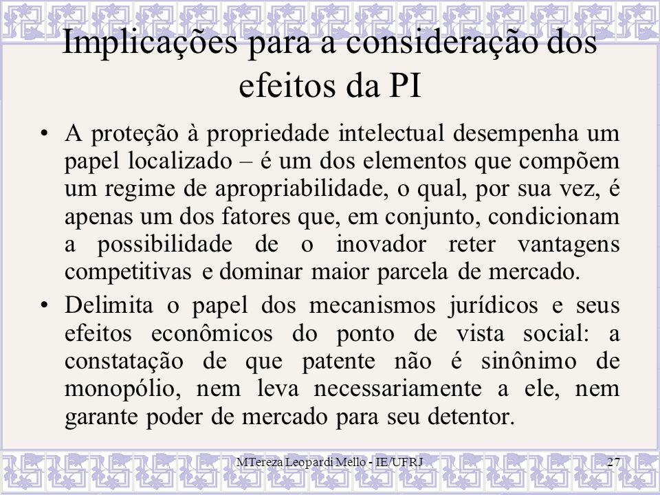 MTereza Leopardi Mello - IE/UFRJ27 Implicações para a consideração dos efeitos da PI A proteção à propriedade intelectual desempenha um papel localiza