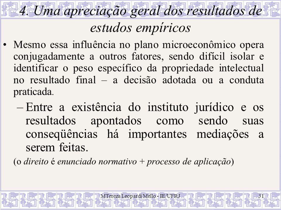 MTereza Leopardi Mello - IE/UFRJ31 4. Uma apreciação geral dos resultados de estudos empíricos Mesmo essa influência no plano microeconômico opera con