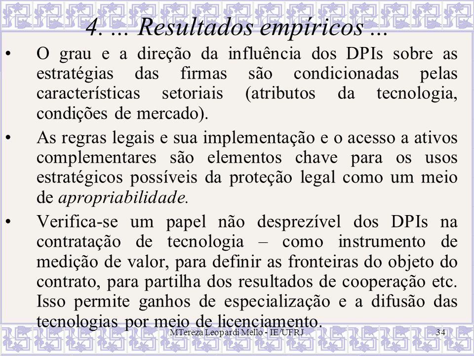 MTereza Leopardi Mello - IE/UFRJ34 4.... Resultados empíricos... O grau e a direção da influência dos DPIs sobre as estratégias das firmas são condici