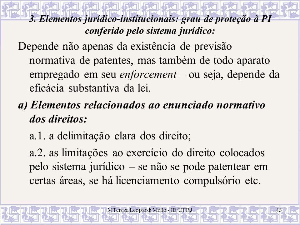 MTereza Leopardi Mello - IE/UFRJ43 3. Elementos jurídico-institucionais: grau de proteção à PI conferido pelo sistema jurídico: Depende não apenas da
