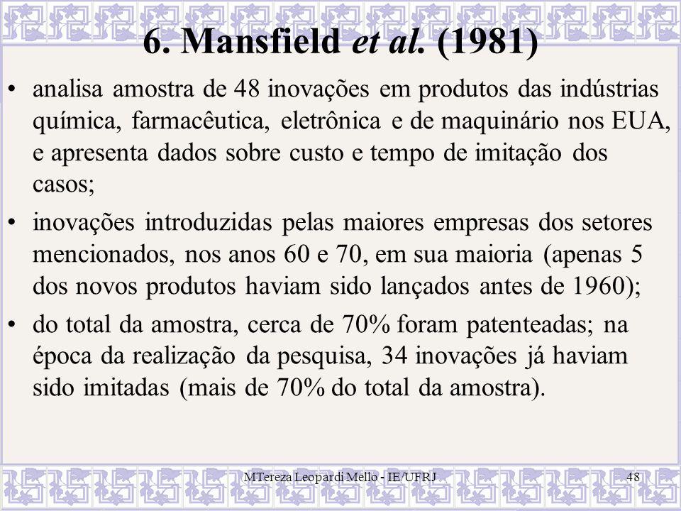 MTereza Leopardi Mello - IE/UFRJ48 6. Mansfield et al. (1981) analisa amostra de 48 inovações em produtos das indústrias química, farmacêutica, eletrô