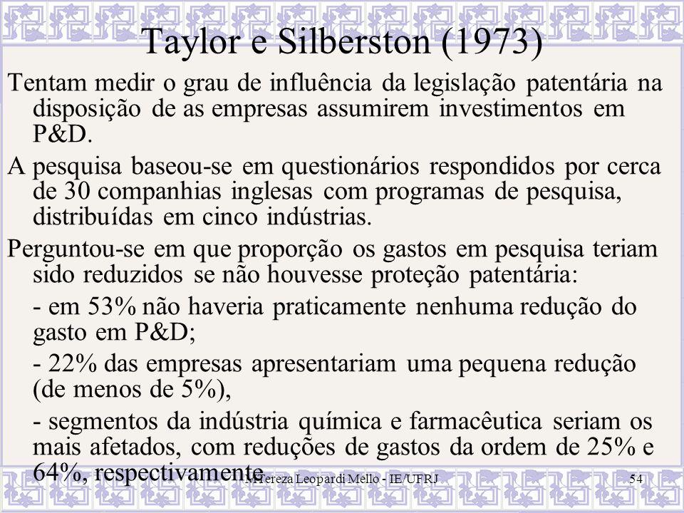 MTereza Leopardi Mello - IE/UFRJ54 Taylor e Silberston (1973) Tentam medir o grau de influência da legislação patentária na disposição de as empresas