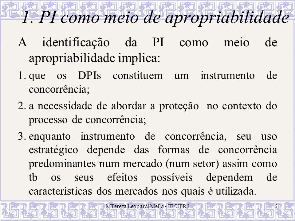 1. PI como meio de apropriabilidade A identificação da PI como meio de apropriabilidade implica: 1.que os DPIs constituem um instrumento de concorrênc