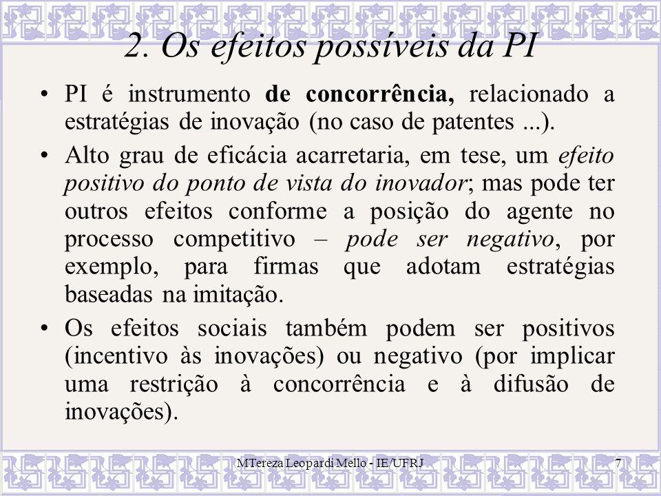7 2. Os efeitos possíveis da PI PI é instrumento de concorrência, relacionado a estratégias de inovação (no caso de patentes...). Alto grau de eficáci