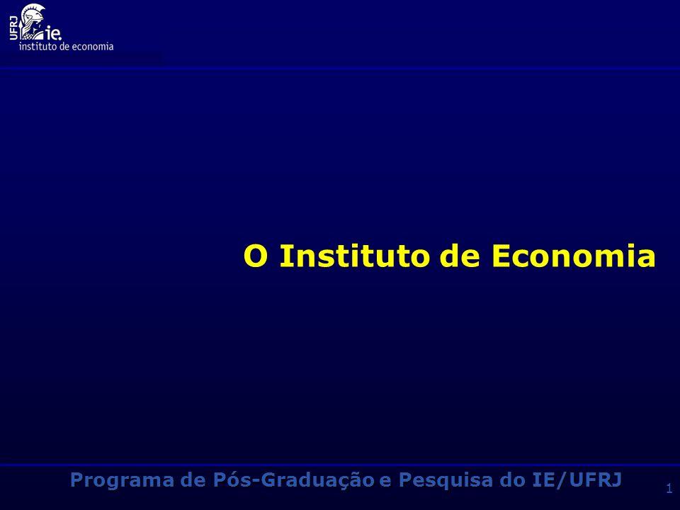 Programa de Pós-Graduação e Pesquisa do IE/UFRJ 31 Outras Informações Breve Histórico das Bolsas Bolsas CNPq e CAPES alocadas em função da ordem de classificação no exame da Anpec INSTITUIÇÃO20092008 CNPq21 CAPES97 IE-UFRJ-1 ANP-2 BNDES1- IPEA*11 FAPERJ11 TOTAL1413