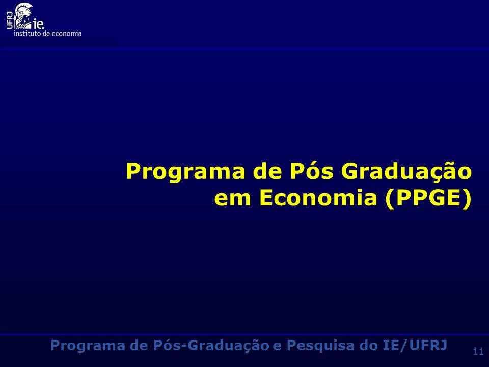 Programa de Pós-Graduação e Pesquisa do IE/UFRJ 10 Pós-Graduação no IE/UFRJ 3 Programas de Mestrado e Doutorado SiglaNomeÁreaFundação PPGEEconomia mes
