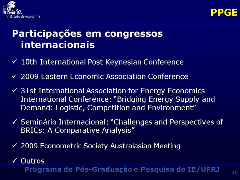 Programa de Pós-Graduação e Pesquisa do IE/UFRJ 15PPGE Participações em congressos internacionais International Schumpterian Society (ISS), Internatio