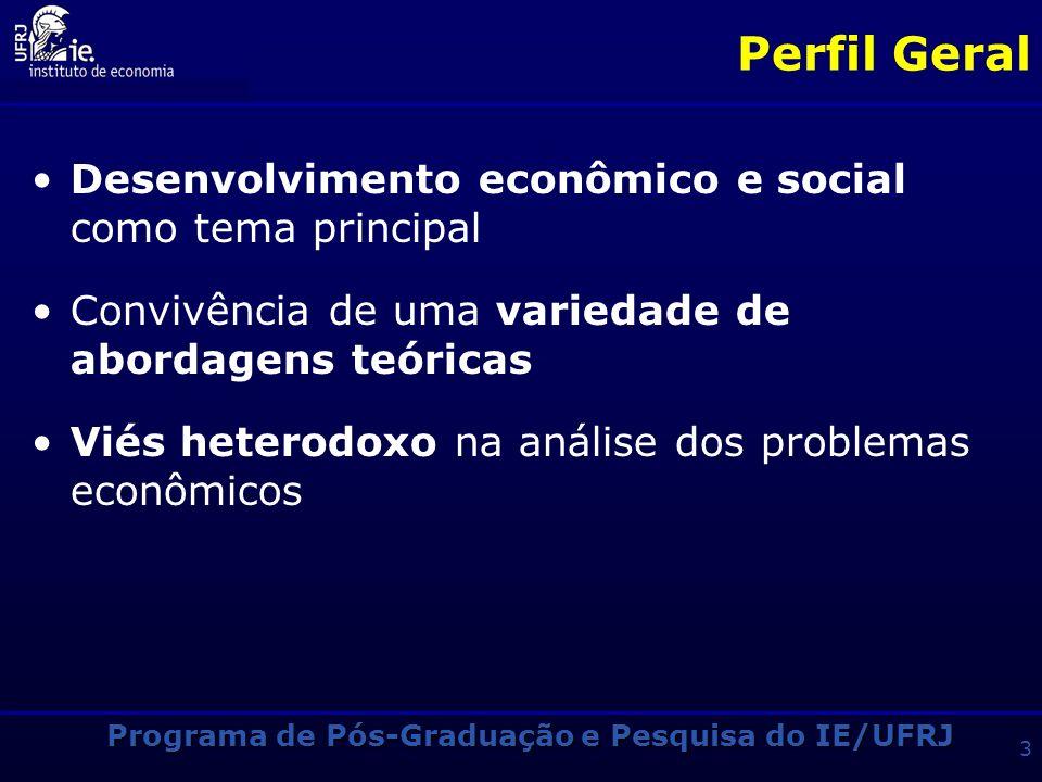 Perfil Geral Desenvolvimento econômico e social como tema principal Convivência de uma variedade de abordagens teóricas Viés heterodoxo na análise dos problemas econômicos Programa de Pós-Graduação e Pesquisa do IE/UFRJ 3