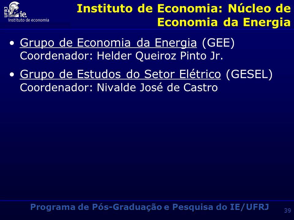 Programa de Pós-Graduação e Pesquisa do IE/UFRJ 38 Instituto de Economia: Núcleo de Economia da Inovação e Sociedade do Conhecimento Grupo de Economia