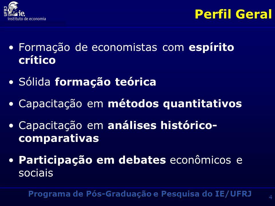 Perfil Geral Formação de economistas com espírito crítico Sólida formação teórica Capacitação em métodos quantitativos Capacitação em análises histórico- comparativas Participação em debates econômicos e sociais Programa de Pós-Graduação e Pesquisa do IE/UFRJ 4