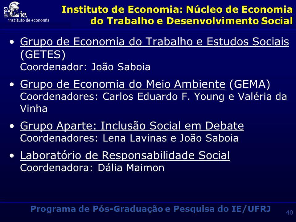 Programa de Pós-Graduação e Pesquisa do IE/UFRJ 39 Instituto de Economia: Núcleo de Economia da Energia Grupo de Economia da Energia (GEE) Coordenador