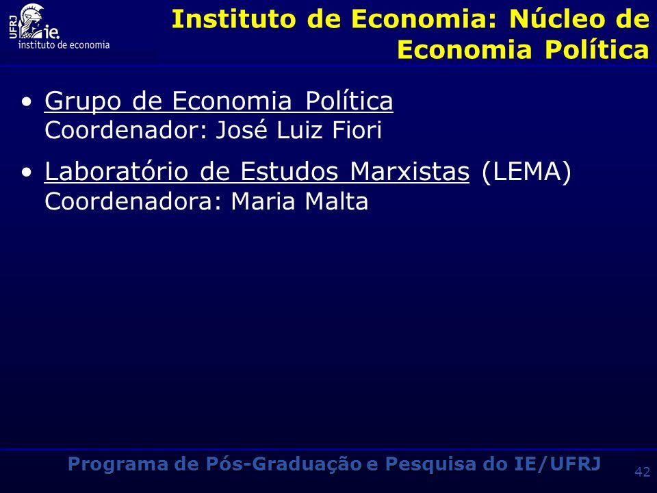 Programa de Pós-Graduação e Pesquisa do IE/UFRJ 41 Instituto de Economia: Núcleo de Economia Internacional Grupo de Economia Financeira e Comércio Ext