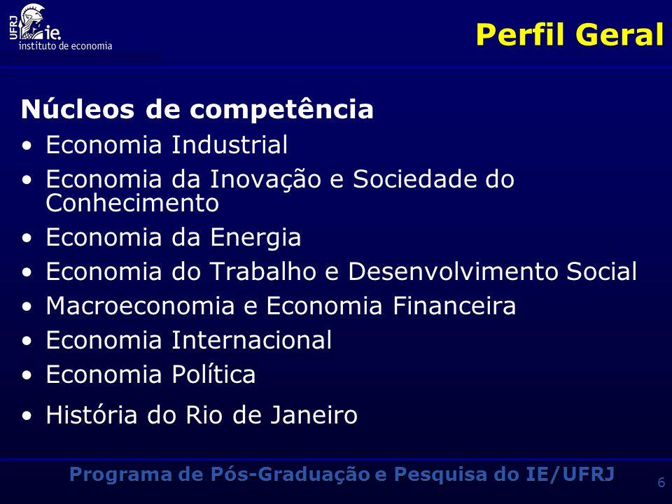 Programa de Pós-Graduação e Pesquisa do IE/UFRJ 6 Perfil Geral Núcleos de competência Economia Industrial Economia da Inovação e Sociedade do Conhecimento Economia da Energia Economia do Trabalho e Desenvolvimento Social Macroeconomia e Economia Financeira Economia Internacional Economia Política História do Rio de Janeiro