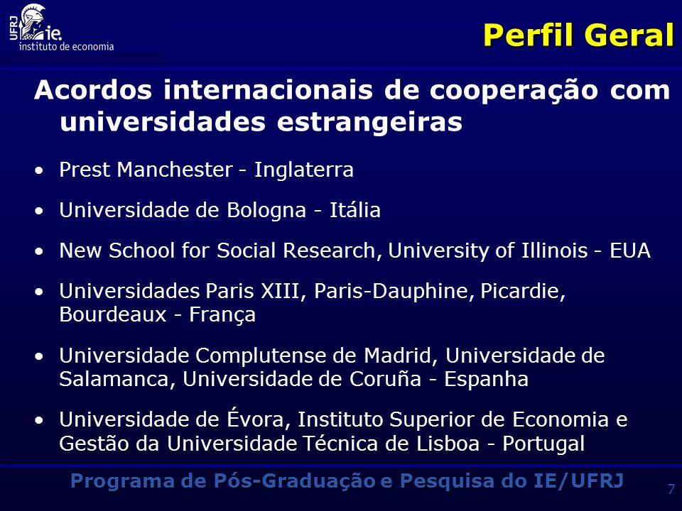 Programa de Pós-Graduação e Pesquisa do IE/UFRJ 6 Perfil Geral Núcleos de competência Economia Industrial Economia da Inovação e Sociedade do Conhecim