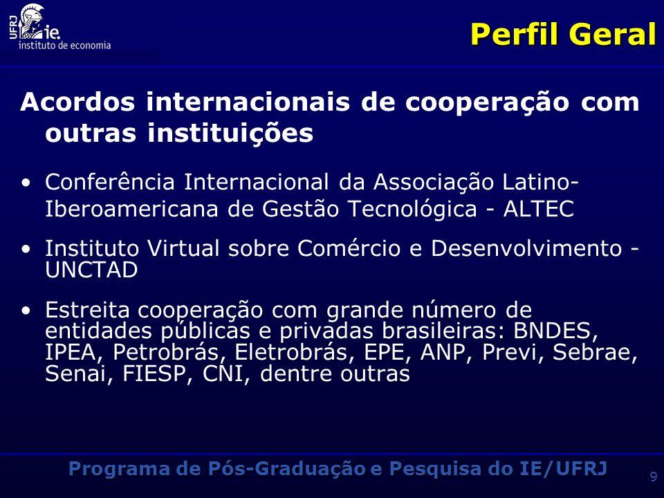 Programa de Pós-Graduação e Pesquisa do IE/UFRJ 9 Perfil Geral Acordos internacionais de cooperação com outras instituições Conferência Internacional da Associação Latino- Iberoamericana de Gestão Tecnológica - ALTEC Instituto Virtual sobre Comércio e Desenvolvimento - UNCTAD Estreita cooperação com grande número de entidades públicas e privadas brasileiras: BNDES, IPEA, Petrobrás, Eletrobrás, EPE, ANP, Previ, Sebrae, Senai, FIESP, CNI, dentre outras