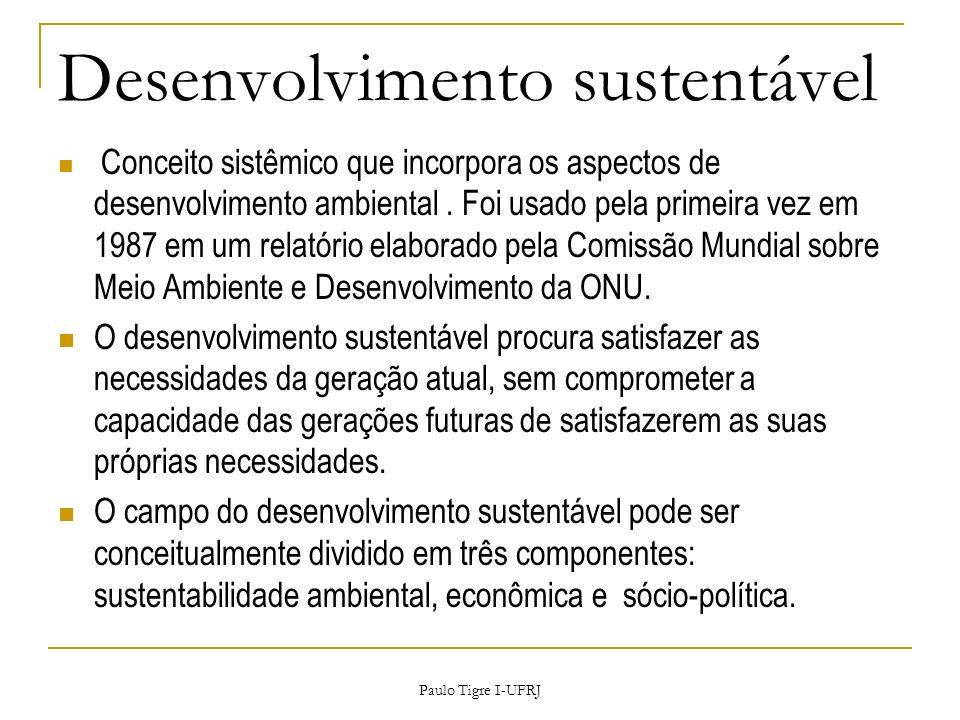 Desenvolvimento sustentável Conceito sistêmico que incorpora os aspectos de desenvolvimento ambiental. Foi usado pela primeira vez em 1987 em um relat