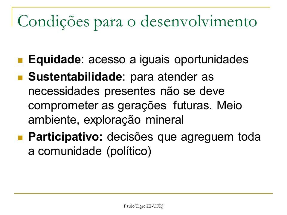 Condições para o desenvolvimento Equidade: acesso a iguais oportunidades Sustentabilidade: para atender as necessidades presentes não se deve comprome