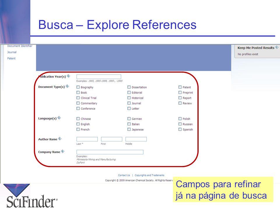 Busca – Explore References Campos para refinar já na página de busca