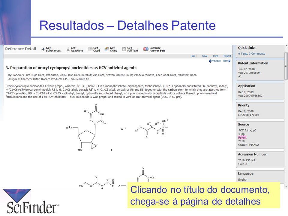 Resultados – Detalhes Patente Clicando no título do documento, chega-se à página de detalhes
