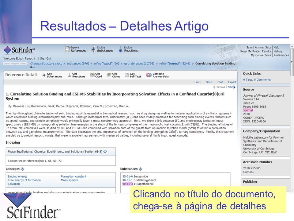 Resultados – Detalhes Artigo Clicando no título do documento, chega-se à página de detalhes