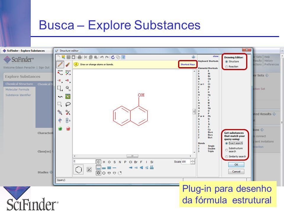 Plug-in para desenho da fórmula estrutural Busca – Explore Substances
