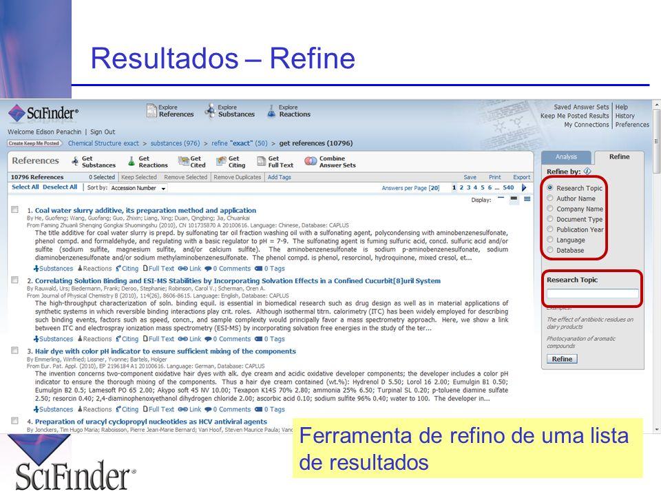 Resultados – Refine Ferramenta de refino de uma lista de resultados