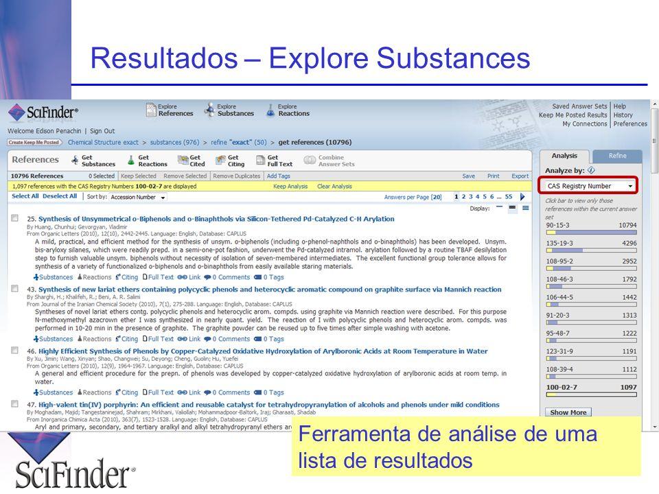 Resultados – Explore Substances Ferramenta de análise de uma lista de resultados