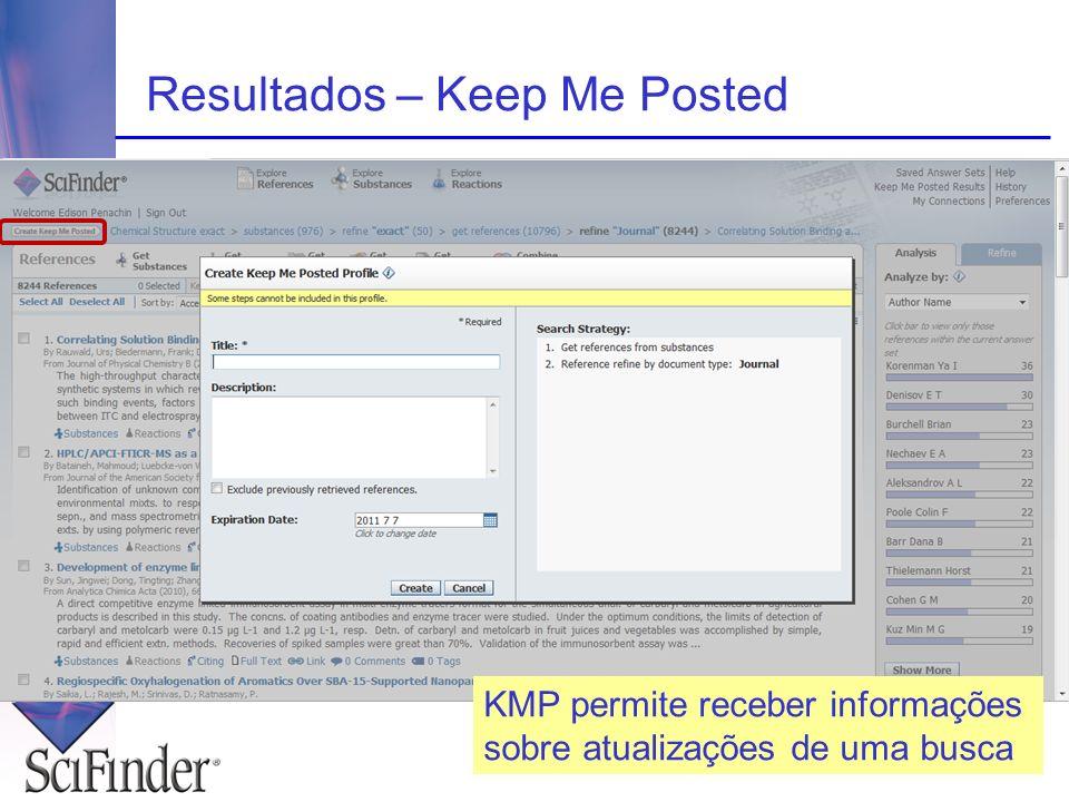 Resultados – Keep Me Posted KMP permite receber informações sobre atualizações de uma busca