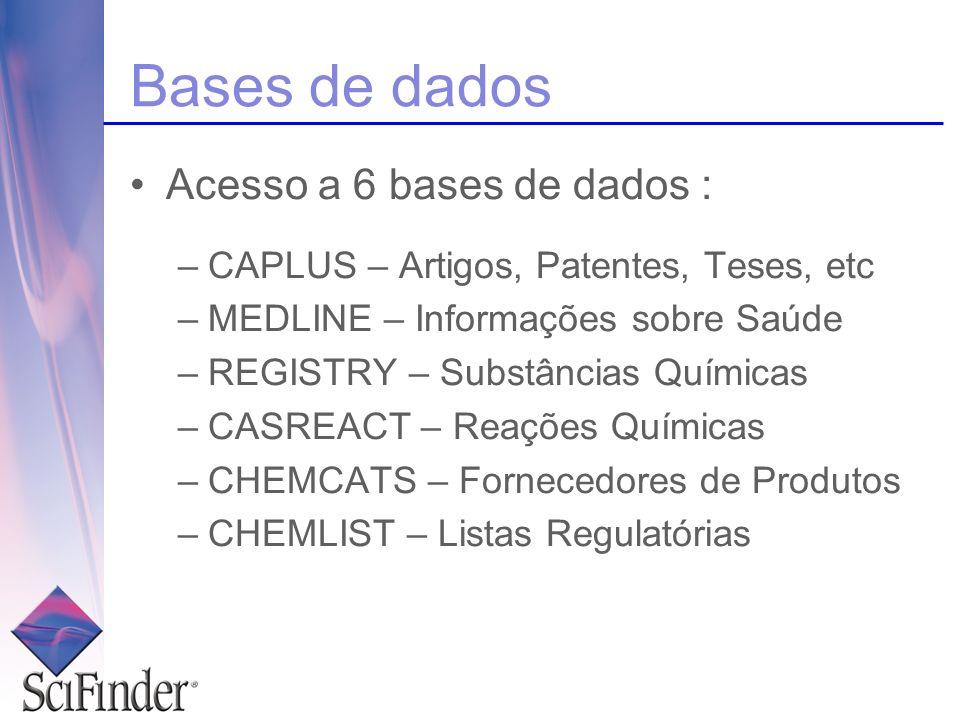 Bases de dados Acesso a 6 bases de dados : –CAPLUS – Artigos, Patentes, Teses, etc –MEDLINE – Informações sobre Saúde –REGISTRY – Substâncias Químicas