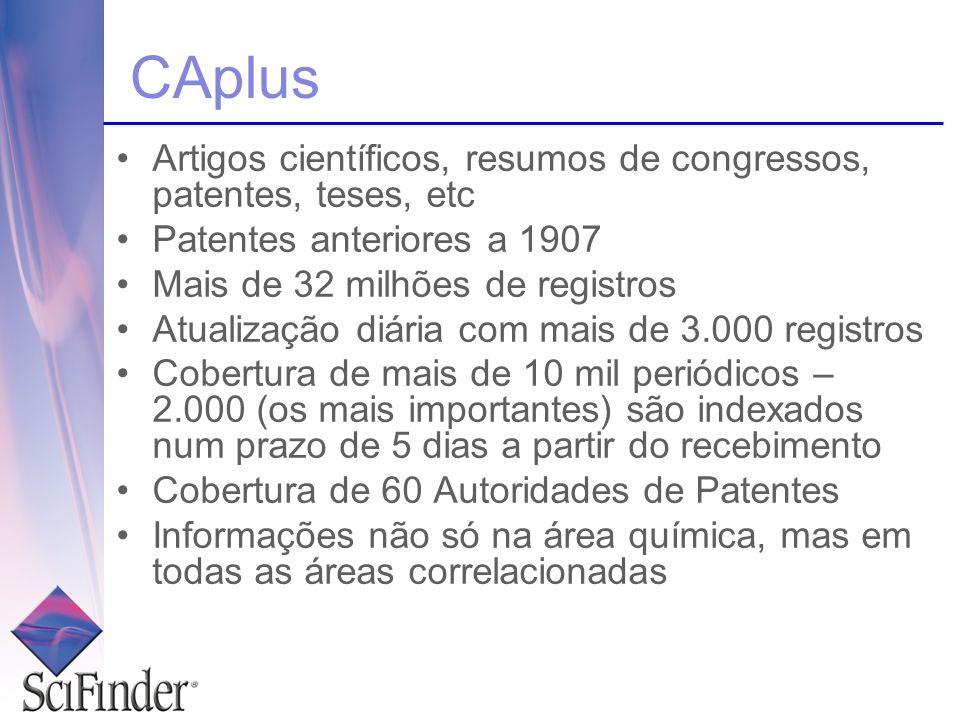 CAplus Artigos científicos, resumos de congressos, patentes, teses, etc Patentes anteriores a 1907 Mais de 32 milhões de registros Atualização diária