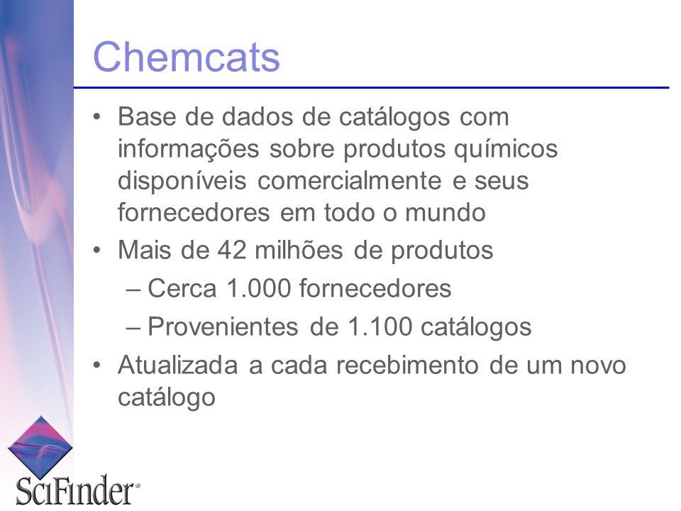 Base de dados de catálogos com informações sobre produtos químicos disponíveis comercialmente e seus fornecedores em todo o mundo Mais de 42 milhões d
