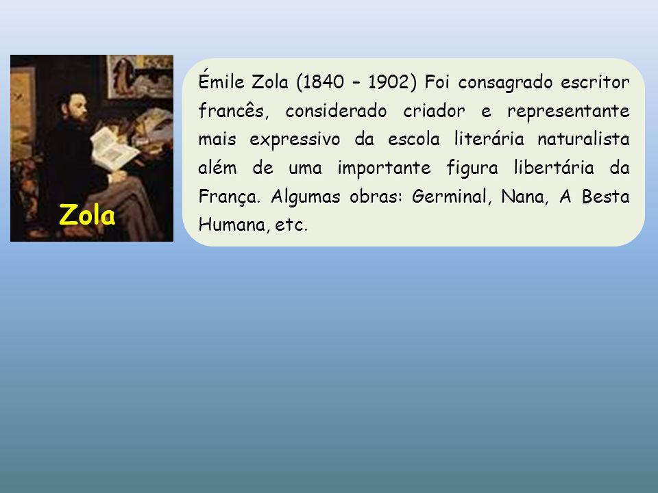 Émile Zola (1840 – 1902) Foi consagrado escritor francês, considerado criador e representante mais expressivo da escola literária naturalista além de