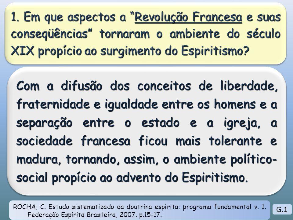 1. Em que aspectos a Revolução Francesa e suas conseqüências tornaram o ambiente do século XIX propício ao surgimento do Espiritismo? Com a difusão do