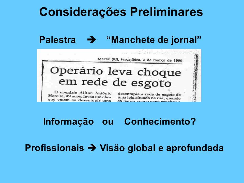 Considerações Preliminares Palestra Manchete de jornal Informação ou Conhecimento? Profissionais Visão global e aprofundada