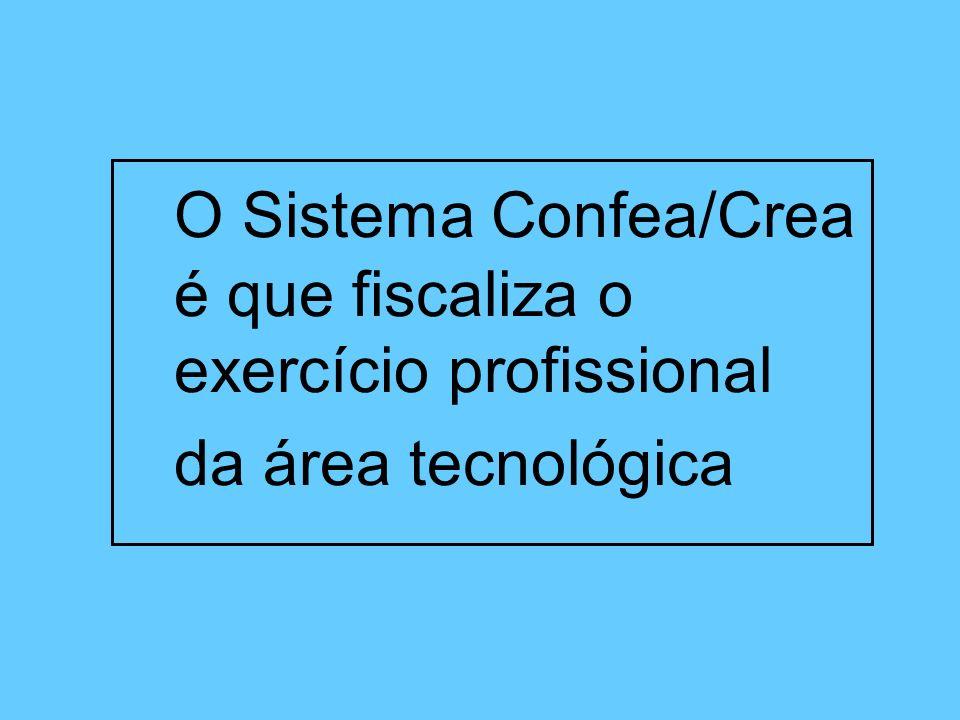 O Sistema Confea/Crea é que fiscaliza o exercício profissional da área tecnológica