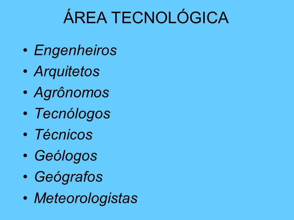 Engenheiros Arquitetos Agrônomos Tecnólogos Técnicos Geólogos Geógrafos Meteorologistas ÁREA TECNOLÓGICA