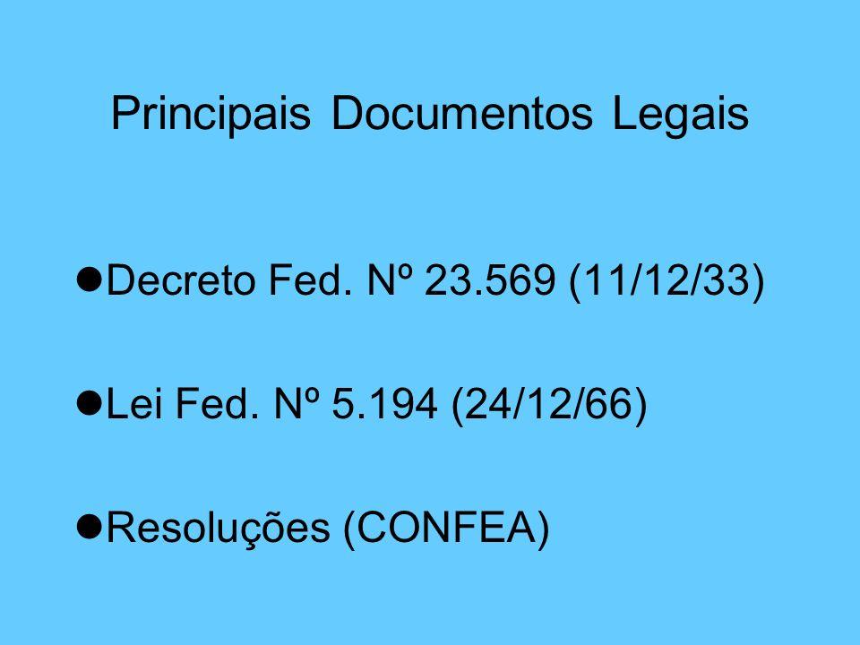 Principais Documentos Legais lDecreto Fed. Nº 23.569 (11/12/33) lLei Fed. Nº 5.194 (24/12/66) lResoluções (CONFEA)
