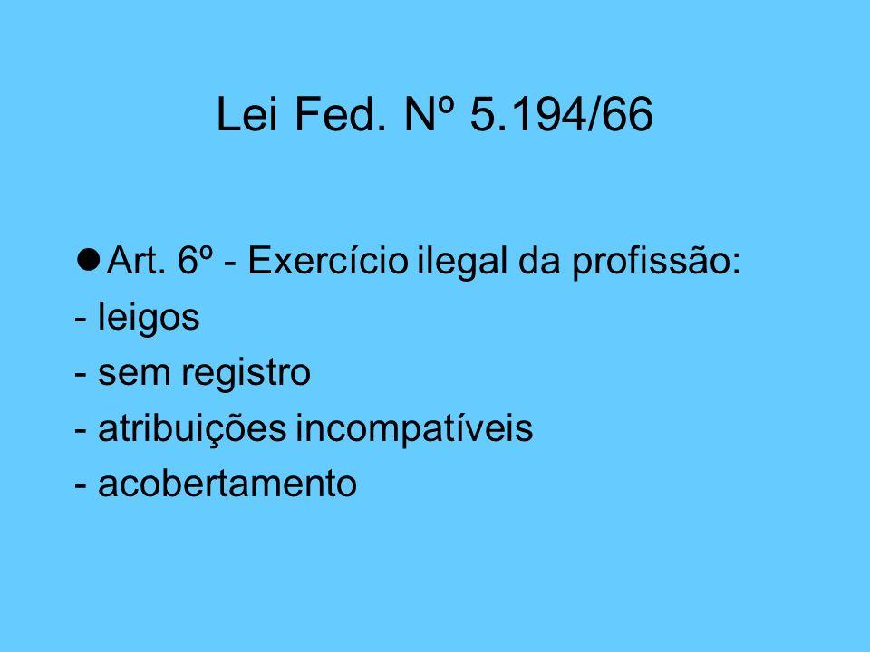 Lei Fed. Nº 5.194/66 lArt. 6º - Exercício ilegal da profissão: - leigos - sem registro - atribuições incompatíveis - acobertamento