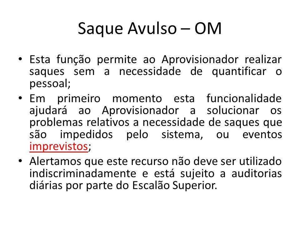 Saque Avulso – OM Esta função permite ao Aprovisionador realizar saques sem a necessidade de quantificar o pessoal; Em primeiro momento esta funcional