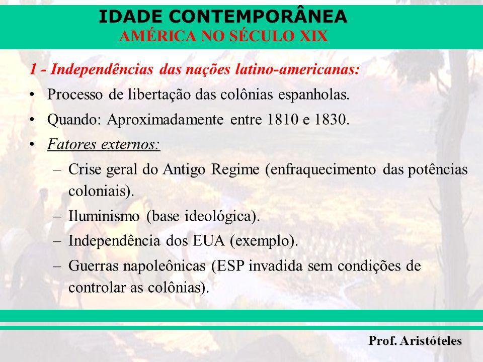 IDADE CONTEMPORÂNEA Prof. Aristóteles AMÉRICA NO SÉCULO XIX 1 - Independências das nações latino-americanas: Processo de libertação das colônias espan