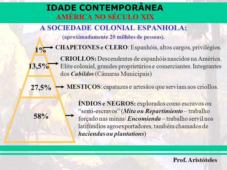 IDADE CONTEMPORÂNEA Prof. Aristóteles AMÉRICA NO SÉCULO XIX A SOCIEDADE COLONIAL ESPANHOLA: (aproximadamente 20 milhões de pessoas). CHAPETONES e CLER