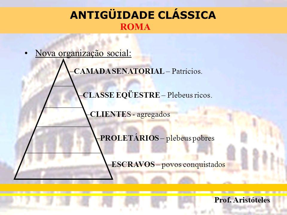 ANTIGÜIDADE CLÁSSICA Prof. Aristóteles ROMA Nova organização social: –CAMADA SENATORIAL – Patrícios. –CLASSE EQÜESTRE – Plebeus ricos. –CLIENTES - agr