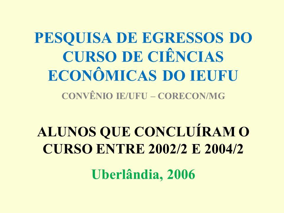 PESQUISA DE EGRESSOS DO CURSO DE CIÊNCIAS ECONÔMICAS DO IEUFU CONVÊNIO IE/UFU – CORECON/MG ALUNOS QUE CONCLUÍRAM O CURSO ENTRE 2002/2 E 2004/2 Uberlândia, 2006