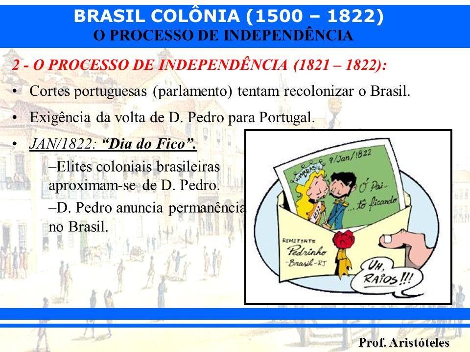 BRASIL COLÔNIA (1500 – 1822) Prof. Aristóteles O PROCESSO DE INDEPENDÊNCIA 2 - O PROCESSO DE INDEPENDÊNCIA (1821 – 1822): Cortes portuguesas (parlamen