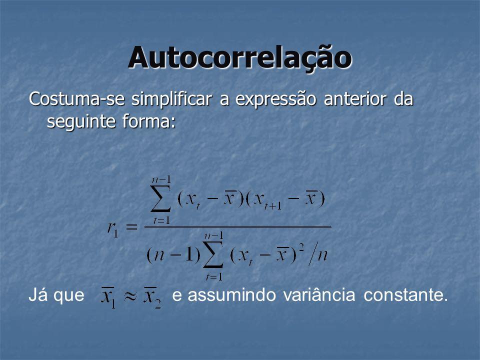Autocorrelação Costuma-se simplificar a expressão anterior da seguinte forma: Já quee assumindo variância constante.
