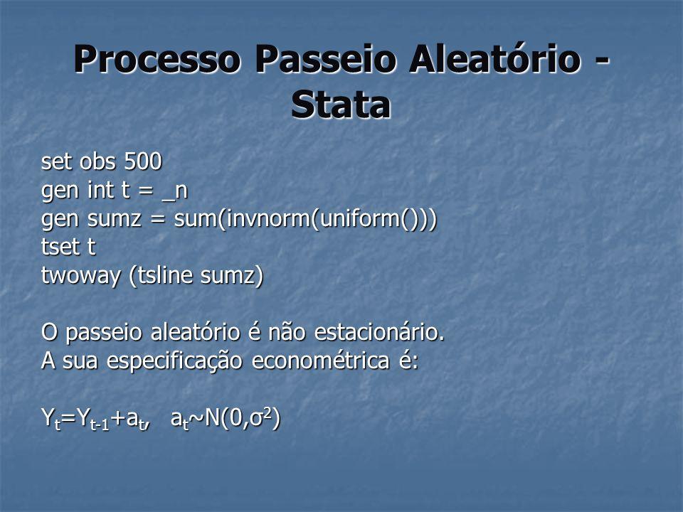 Processo Passeio Aleatório - Stata set obs 500 gen int t = _n gen sumz = sum(invnorm(uniform())) tset t twoway (tsline sumz) O passeio aleatório é não