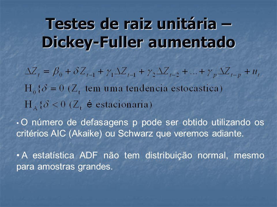 Testes de raiz unitária – Dickey-Fuller aumentado use http://www.stata-press.com/data/r8/lutkepohl.dta http://www.stata-press.com/data/r8/lutkepohl.dta tsset qtr twoway (tsline investment) dfuller investiment dfuller D.investment dfuller D.investment, lags(4) fitstat dfuller D.investment, lags(3) fitstat dfuller D.investment, lags(2) fitstat