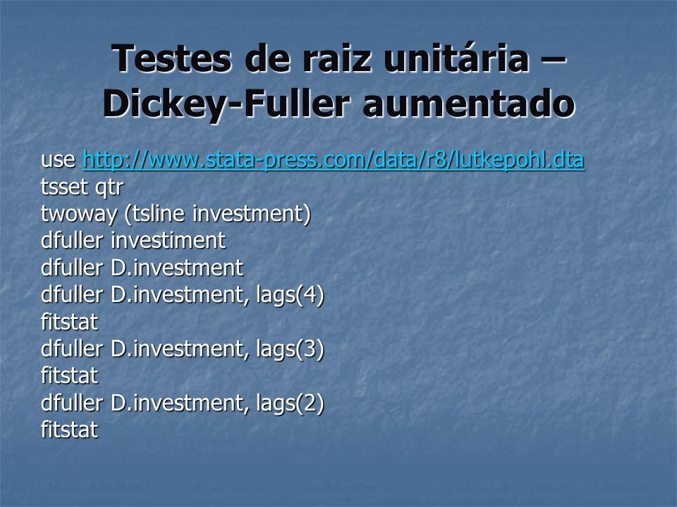 Testes de raiz unitária – Dickey-Fuller aumentado use http://www.stata-press.com/data/r8/lutkepohl.dta http://www.stata-press.com/data/r8/lutkepohl.dt