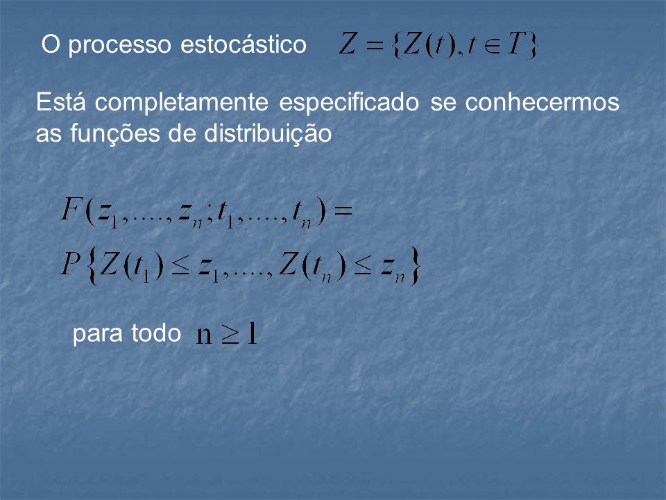 Processos estocásticos estacionários Um processo estocástico é estritamente estacionário se todas as funções de distribuições permanecem as mesmas no decorrer do tempo, ou seja, para quaisquer t 1,...,t n,