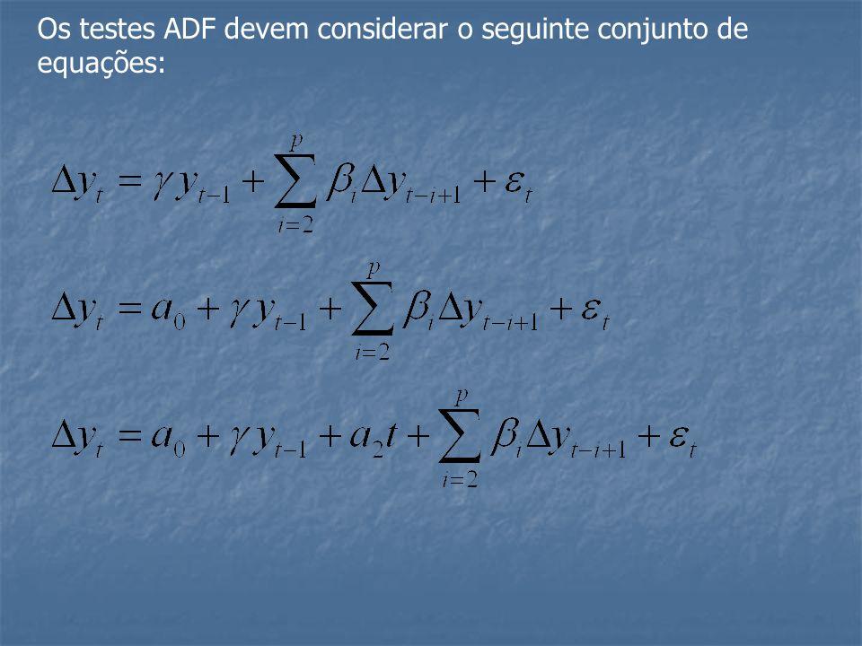Os testes ADF devem considerar o seguinte conjunto de equações: